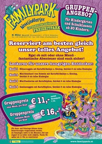 Egal ob mit oder ohne Menü - Familypark Neusiedlersee