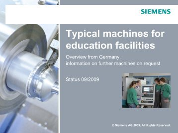 Typical machines for education facilities - Siemens Automation and ...