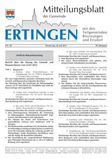 Bericht über die Sitzung des Umwelt- und Bauausschusses - Ertingen