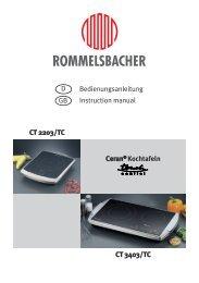 Bedienungsanleitung Instruction manual CT 3403/TC GB D Ceran ...