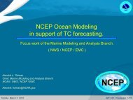 NCEP Ocean Modeling in support of TC forecasting.