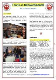 Info-Brief vom 01.12.2008 - Tennis in Schwentinental