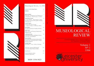 Volume 1, No 1 1994 - University of Leicester