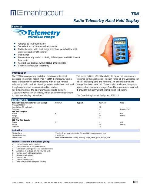 TDM Radio Telemetry Hand Held Display