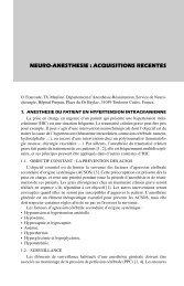NEURO-ANESTHESIE : ACQUISITIONS RECENTES - Mapar