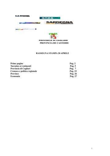 rassegna stampa 20 aprile - Provincia di Cagliari