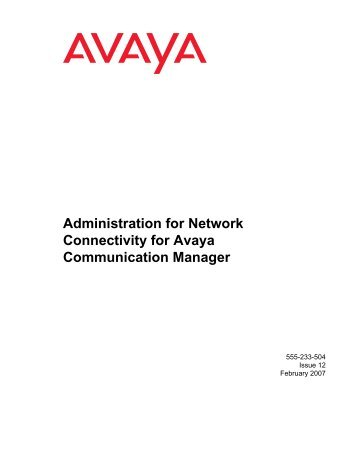 Administration for Network Connectivity for Avaya ... - Avaya Support