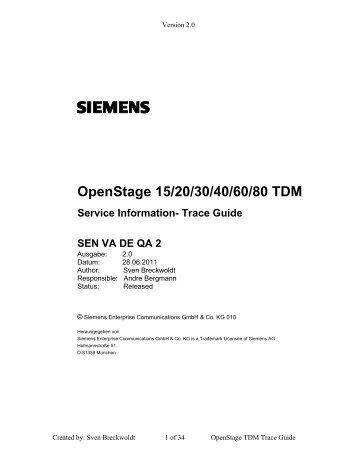 OpenStage 15/20/30/40/60/80 TDM - Siemens Enterprise - Siemens ...