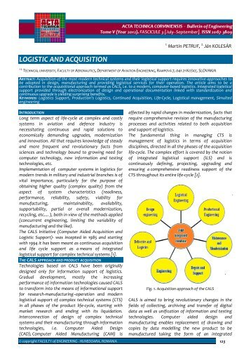 LOGISTIC AND ACQUISITION - Acta Technica Corviniensis