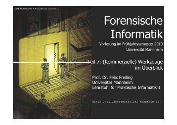 Freie Werkzeuge - Lehrstuhl für Praktische Informatik 1 - Universität ...