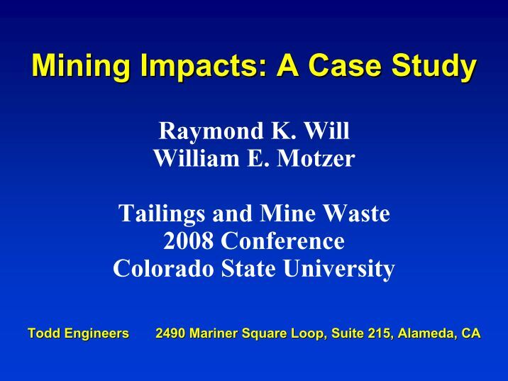 case study impact of mining and