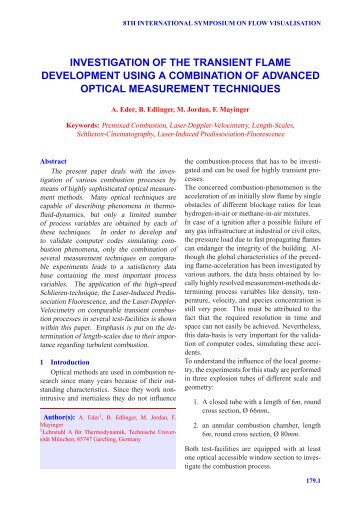 investigation of the transient flame development using a ...
