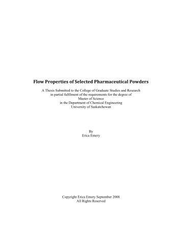 Flow Properties of Selected Pharmaceutical Powders - University ...