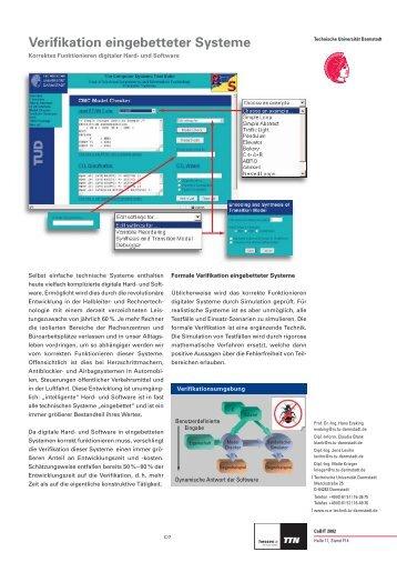 Verifikation eingebetteter Systeme - Technische Universität Darmstadt