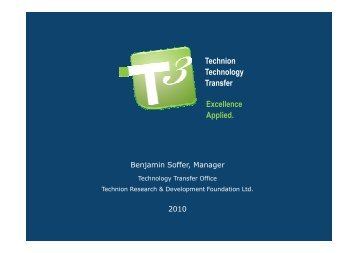 Technion Technology Transfer Excellence Applied.