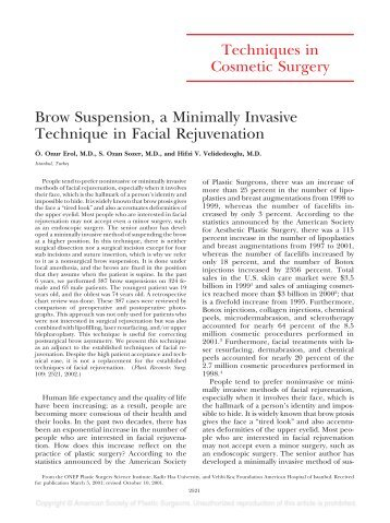 Techniques in Cosmetic Surgery Brow Suspension, a Minimally ...