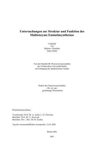 Untersuchungen zur Struktur und Funktion des Multienzyms ...