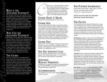 Alexander Tech. Brochure_06 - CU-Boulder College of Music ...