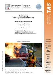 Studiengang Vorbeugender Brandschutz Master of Engineering