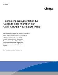 Technische Dokumentation für Upgrade oder Migration auf Citrix ...