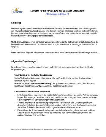 leitfaden fr die verwendung des europass lebenslaufs einleitung - Referenzen Lebenslauf