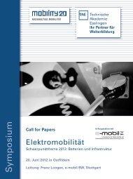 Franz Loogen, e-mobil BW, Stuttgart Call for Papers