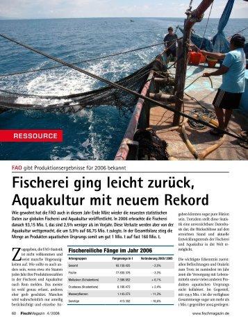 Fischerei ging leicht zurück, Aquakultur mit neuem Rekord