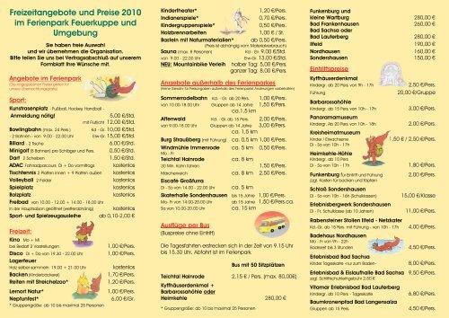 Freizeitangebote und Preise 2010 im Ferienpark ... - Thüringen