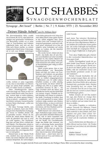 Frage der Woche - Chabad Lubawitsch - Berlin