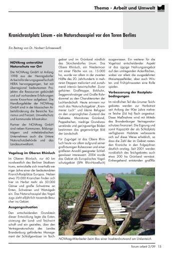Kranichrastplatz Linum - ein Naturschauspiel vor ... - NOVAreg GmbH