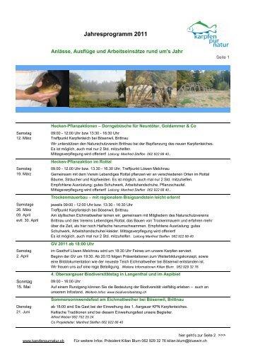 Jahresprogramm 2011 - Karpfen Pur Natur