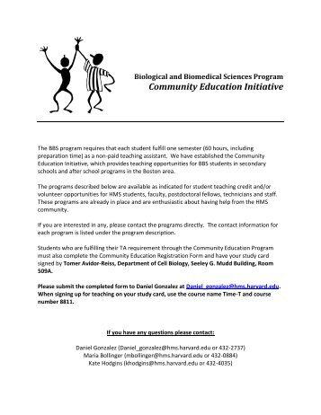 Community Education Initiative - Harvard Medical School - Harvard ...