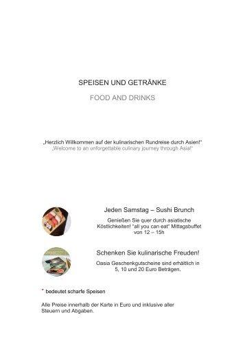 SPEISEN UND GETRÄNKE FOOD AND DRINKS - Oasia