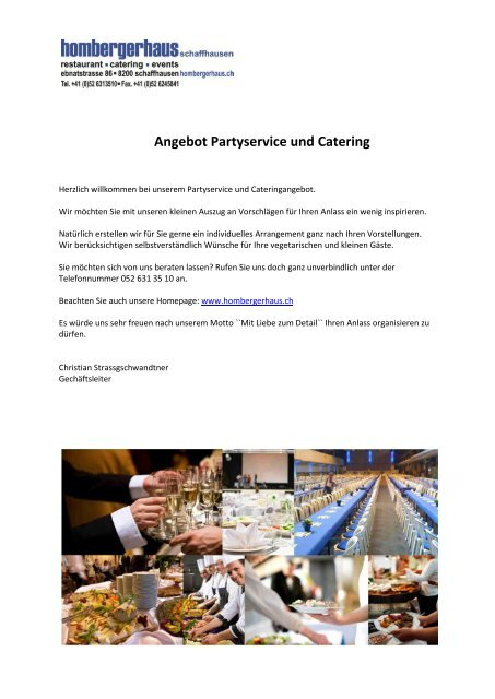 Angebot Partyservice Und Catering Munot