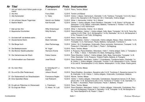 Titel Komponist Preis Instrumente Nr