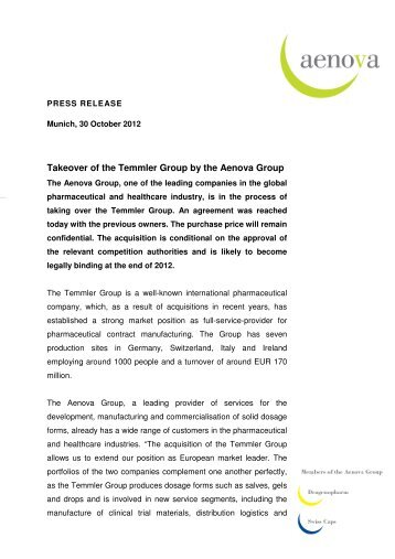Takeover Of The Grass Group By Strategic Investor Wrth