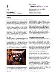 Nieuwsbrief, november 2012 - Historisch Museum Haarlem