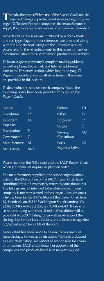 Directory - Police Chief Magazine