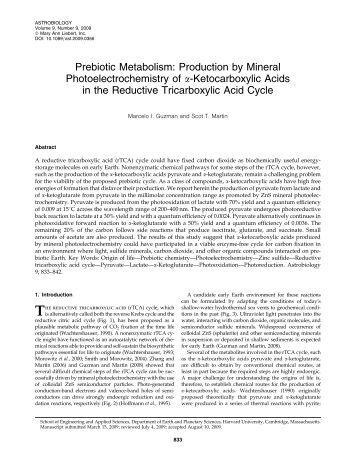 Prebiotic Metabolism - Origins of Life Initiative - Harvard University