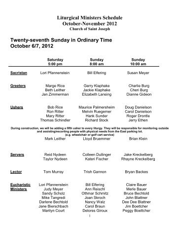 Twenty-ninth Sunday in Ordinary Time October 20/21, 2012 NB This is