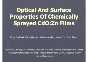 Optical And Surface Properties Of Chemically Sprayed CdO:Zn Films