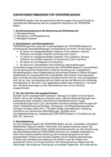 garantiebestimmungen für terhürne-boden - Parkett-Store24