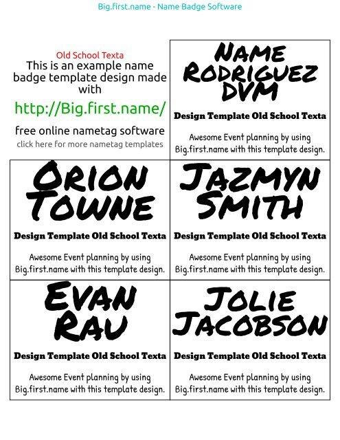 Badge Template Old School Texta Name Badge Software