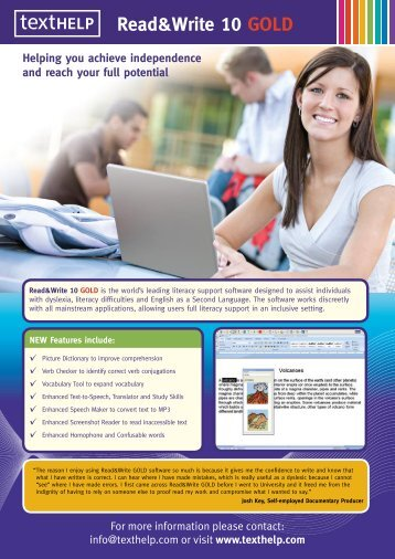 read write gold Texthelp's read&write gold text-to-speech software is for individuals with reading or writing difficulties, those with learning disabilities such as dyslexia, and.