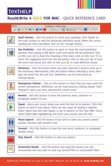 QUICK REFERENCE CARD - Texthelp