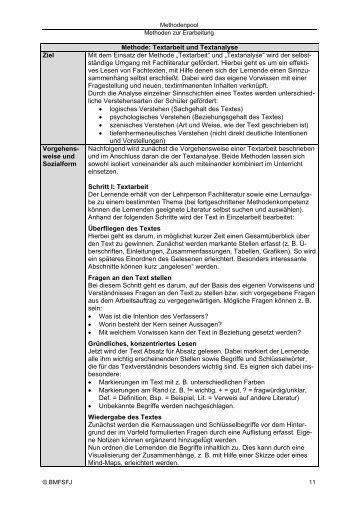 Methode: Textarbeit und Textanalyse Ziel Mit dem Einsatz der ...