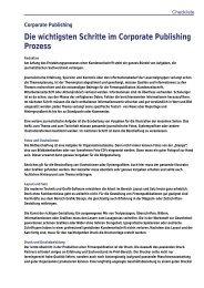 Die wichtigsten Schritte im Corporate Publishing ... - Marketing.ch