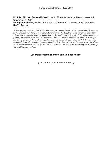 Prof. Dr. Michael Becker-Mrotzek, Institut für deutsche Sprache ...