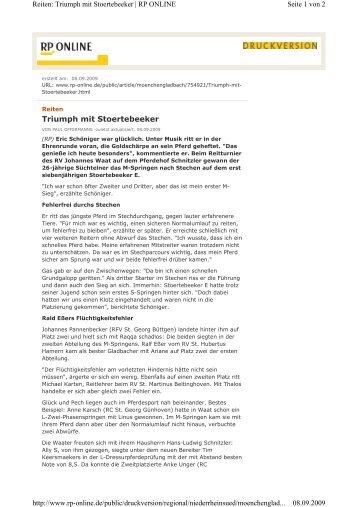 Rheinische Post 8.9.2009 - Reiterverein St. Johannes Waat e.V.