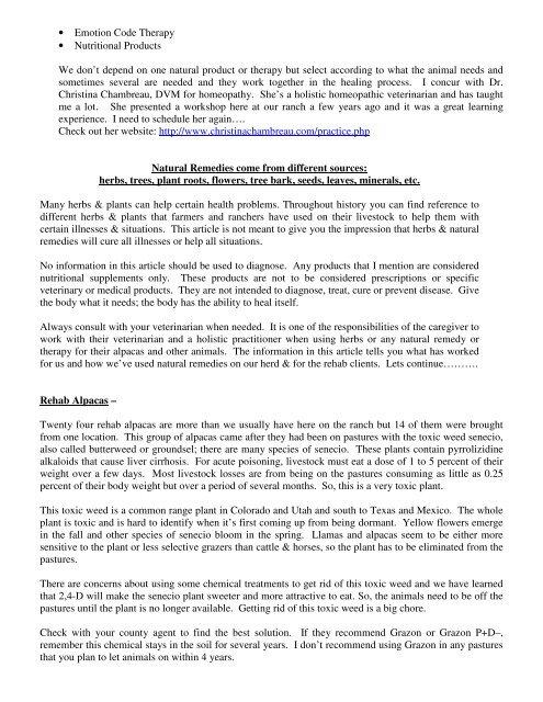 Natural Herbal Remedies for Alpacas - Alpacas ALL Naturale